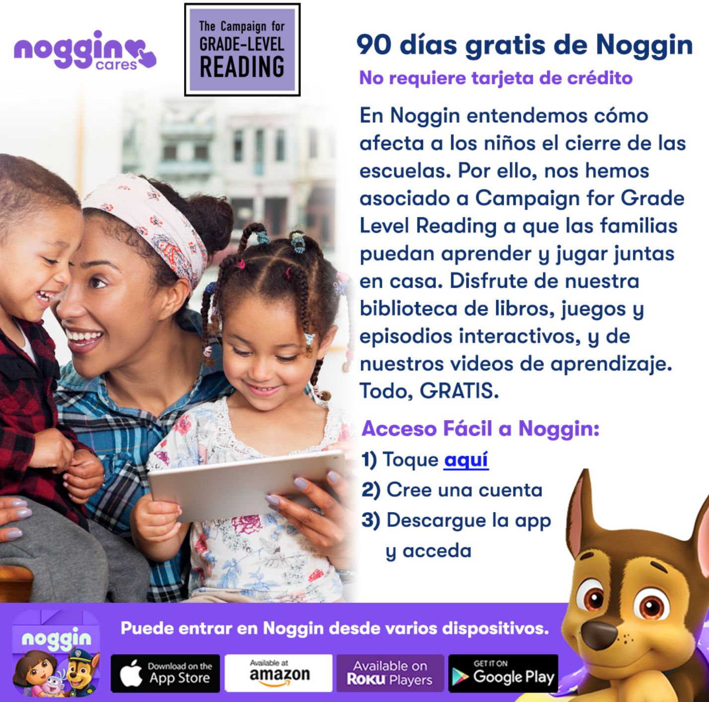 Noggin GLR info flyer in Spanish